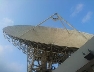 A big satellite dish in Accra, Ghana that was converted into an AVN telescope and belongs to the Square Kilometer Array project.