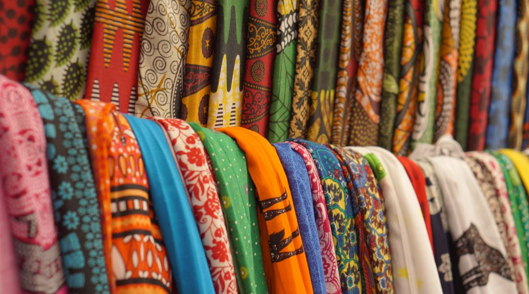 Colorful Tanzania fabrics that are exhibited and sold on the streets of Zanzibar town.